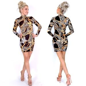 Long Sleeve Fitted Gold Black Pattern Mini Dress